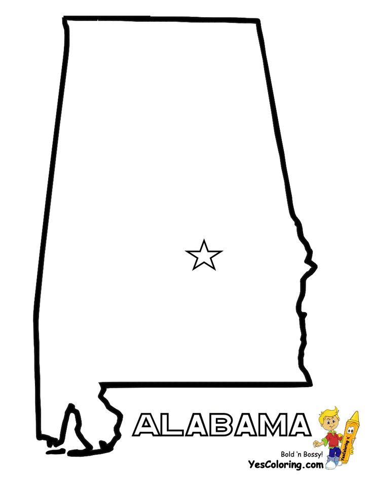 Print Out State Map Diagram For Alabama at YesColoring.com