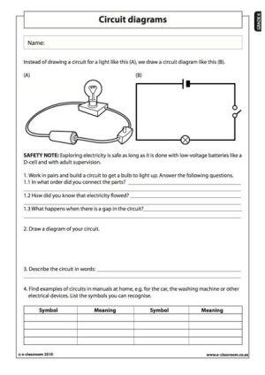 Circuit diagrams  Natural Science Worksheet (Grade 6