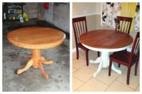 Dining table DIY. Spray paint and stain. Kitchen table ...