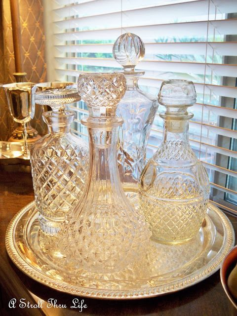 Decanters on display  House  Home  Pinterest  Liquor Trays and Tables