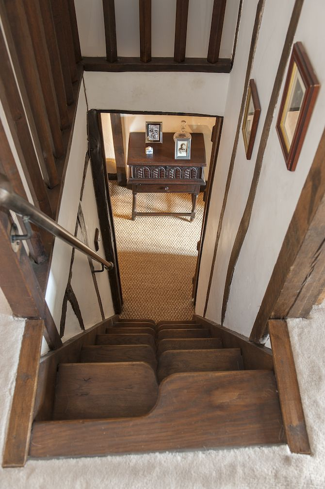 Timbered Cottage Ultra Steep Paddle Staircase Leads Down