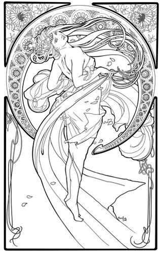 19 best images about Mucha coloring pages on Pinterest