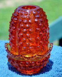 Fenton Glass Hobnail Fairy Lamp Orange Amberina Vintage ...