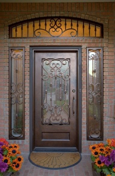 Custom wrought iron door with sidelight and transom grills aaleadedglasscom  Wrought Iron