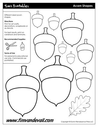Acorn Templates / Acorn Shapes, free for personal arts and