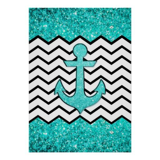 Cute Chevron Wallpapers For Ipad Teal Glitter Anchor And Chevron Poster Anchors Cute