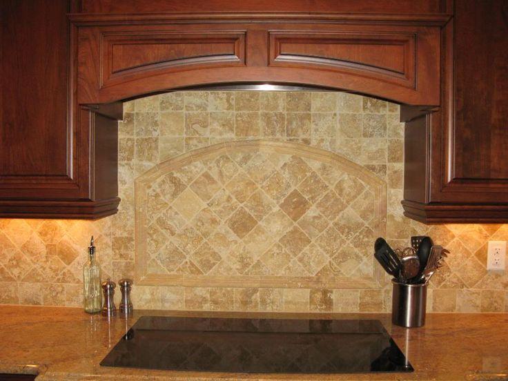 Beige brown subway mosaic travertine backsplash tile