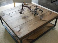 Square Industrial - modern Coffee Table | Cas, Wheels and ...