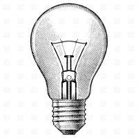 vintage light bulb drawing