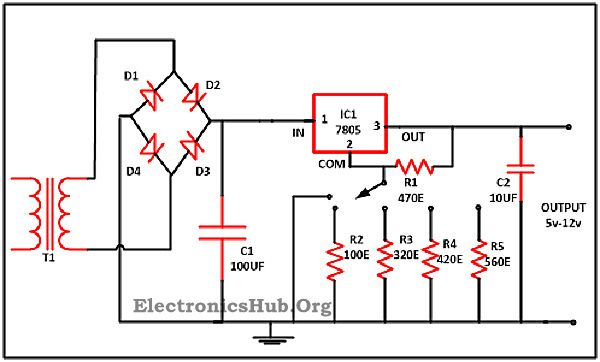 Pc Switching Power Supply Wiring Diagram Variable Voltage Power Supply From Fixed Voltage Regulator