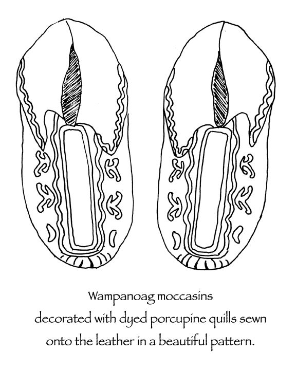 Wampanoag Native American Indian moccasins decorated with