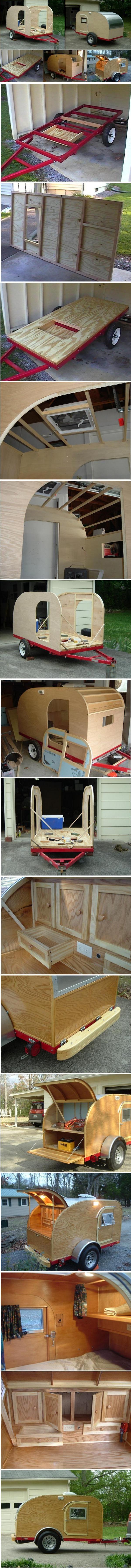 Construction dune mini caravane ou teardrop trailer.