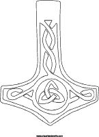 Thors hammer coloring page, mollijnor symbol tattoo design