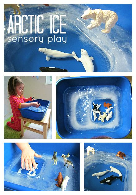 arctic ice sensory play – make an icy sensory tub with a fun water hole for arctic animal play.