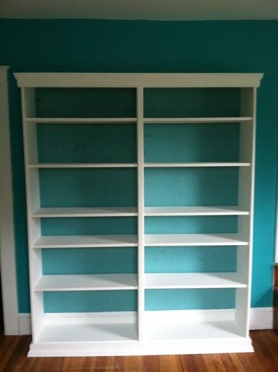 Ikea Billy Bookcase Hack molding and trim  Furniture  Pinterest  Ikea billy Bookcases and