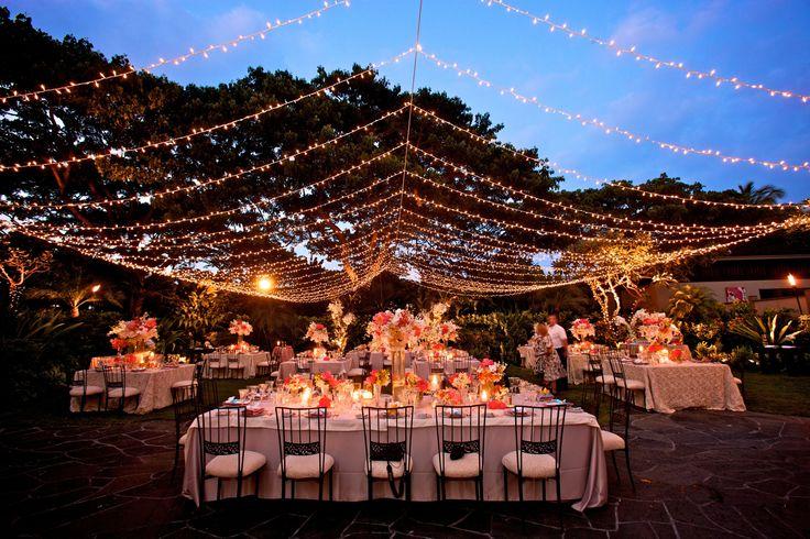 Twinkle light canopy at night Garden Lawn  Four Seasons Resort Hualalai Weddings  Garden Lawn