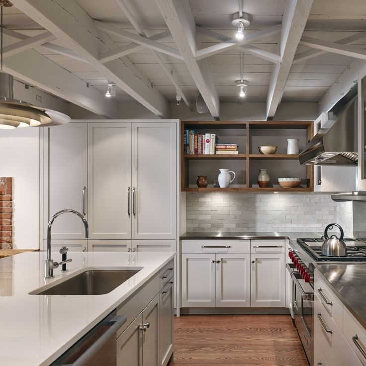 Brownstone Garden Level Kitchen With Exposed Ceiling