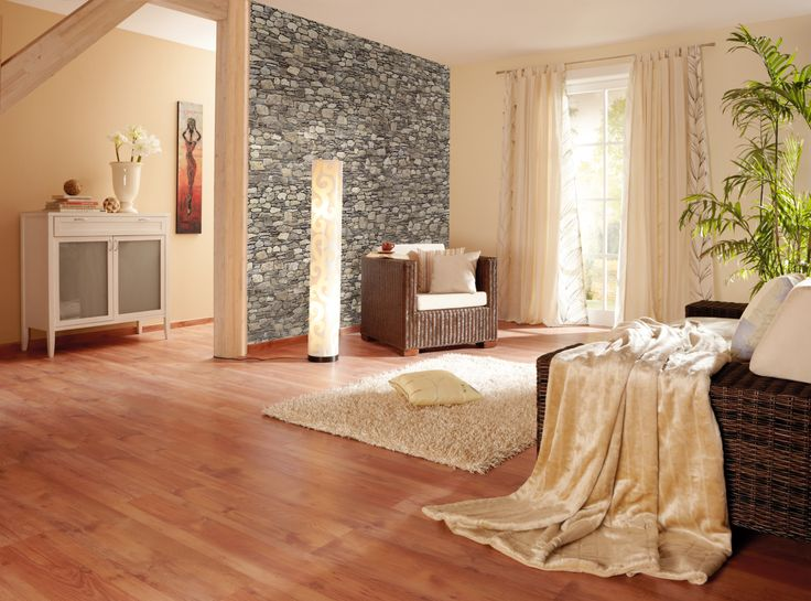 natur beige Wohnzimmer Steintapete Laminat  Ideen rund ums Haus  Pinterest