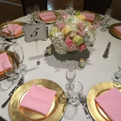 Chair Covers Ivory Wedding Alps Mountaineering Getaway Medium Pink Napkins, Gold Chargers, Linens, No Flowers Feature Roses ...