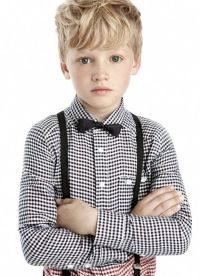 ring bearer-gingham shirt with suspender and bow tie ...