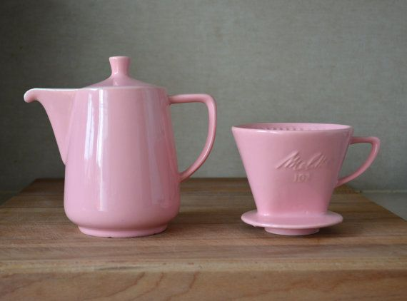 mid century kitchen table alder cabinets vintage germany pink melitta ceramic coffee pot and filter ...
