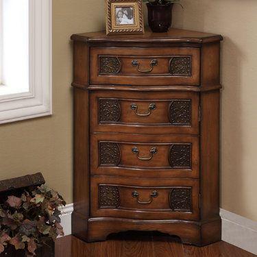Cadiz Wooden Corner Accent Cabinet  Honey Cabinets and Cadiz