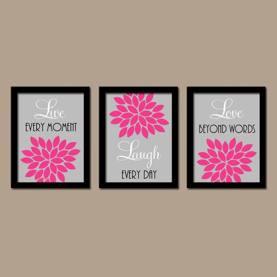 Live Laugh Love Wall Art Bedroom Canvas Or Prints Bathroom Artwork Pictures Flower Burst Dahlia Set Of 3