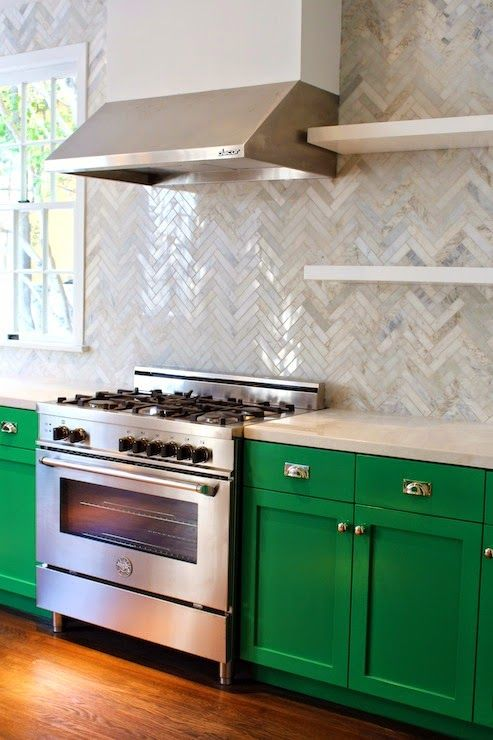 kitchen cabinets color combination glass table set for lovely kelly green with herringbone backsplash ...