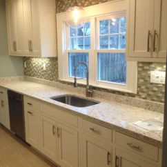 Farm Style Kitchen Sink With Drainboard Siberian White Quartz Countertops By Just For Granite ...