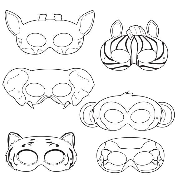 Jungle Animals Coloring Masks, monkey mask, elephant mask