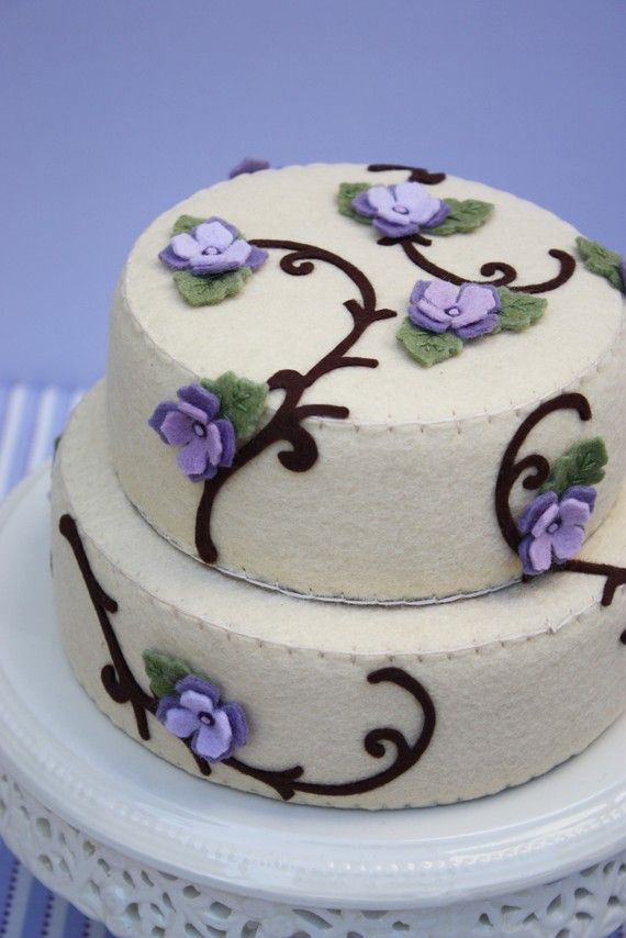 Felt Vanilla Cake With Lavender And Purple Violets Plain