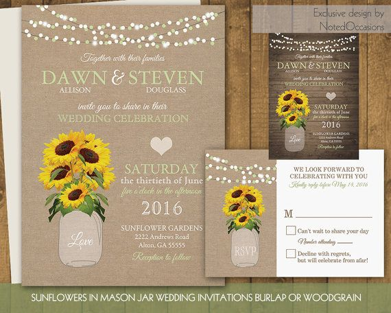 Wedding Invitations Sunflowers PaperInvite