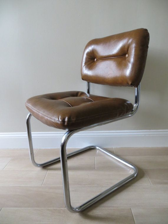 Mid Century Modern Brown Chrome Cantilever Office Accent