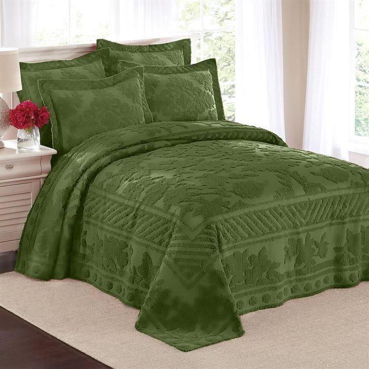 100 Cotton Textured Leaf Pattern Chenille Bedspread Shams