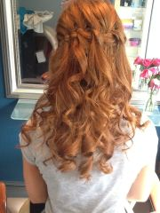 prom hair waterfall braid curls
