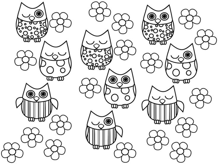 Printable Coloring Pages Animal Owl For Little Kids Image