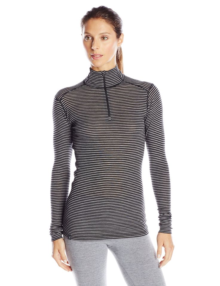 ibex outdoor clothing womens woolies zip t neck striped base layer top black