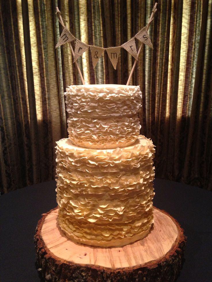 Fondant Ruffle Gold Ombre Wedding Cake Kj Takes The Cake