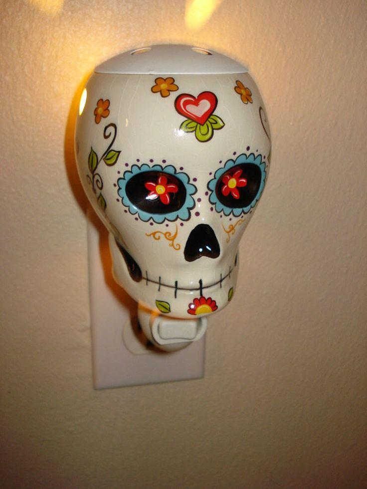 Day Of The Dead Dia de Los Muertos Sugar Skull Night Light Scent Warmer Wall  Scent warmers