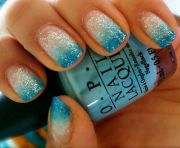 turquoise glitter ombre nails