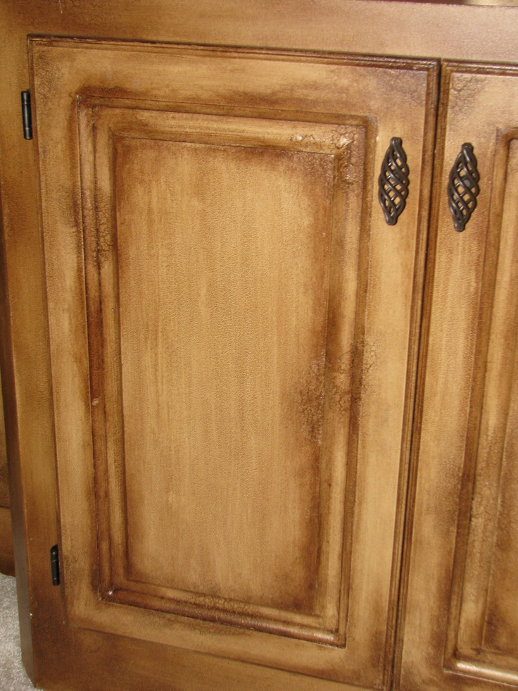 DistressCrackle finish Kitchen cabinet refinish