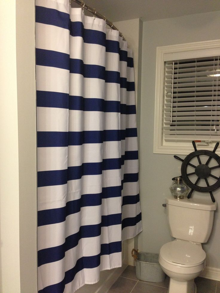 White And Navy Shower Curtain