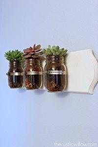 Succulent Mason Jar Wall Art | Beautiful, Jars and ...