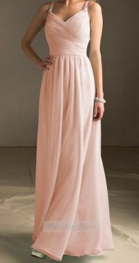 Light Blush Bridesmaid Dress Pearl Pink Long Evening Dress ...