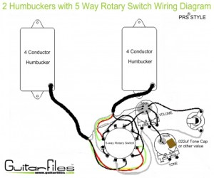 2 Humbuckers with 5 Way Rotary Switch Wiring Diagram