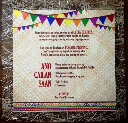 Lucia's Pista Sa Nayon Themed Party Invites Philippine