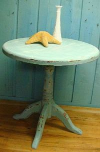 Round Side Table in Seafoam Turquoise Shabby Chic Beach ...