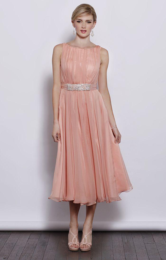 Sleeveless round neck chiffon tea length bridesmaid dress