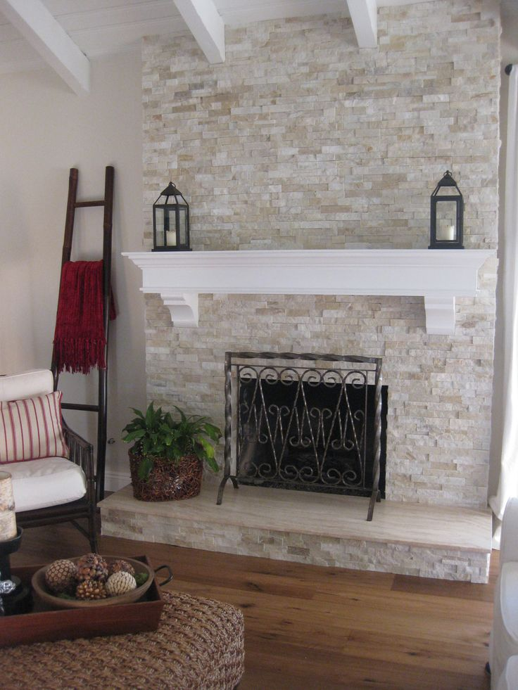 Reface an old brick fireplace with East West Classic Ledge StoneInstant update Dcor