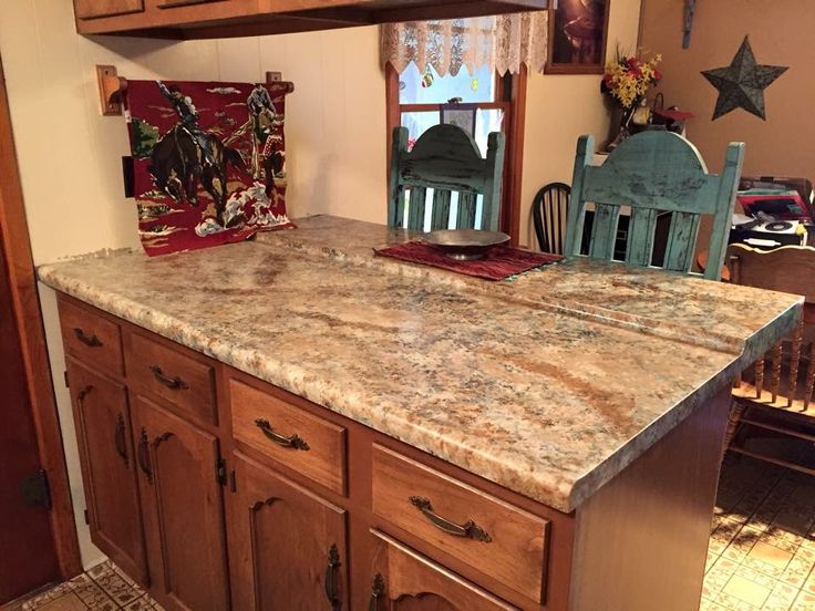 Two-tone Oak Kitchen Cabinets Giani Granite Countertop Makeover | No Place Like Home